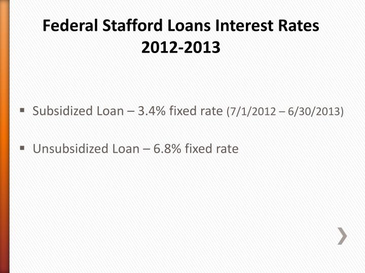 Federal Stafford Loans Interest Rates