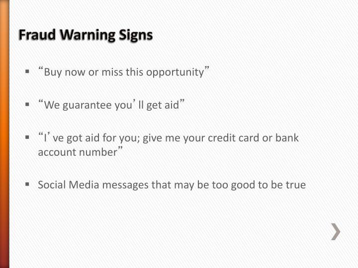 Fraud Warning Signs