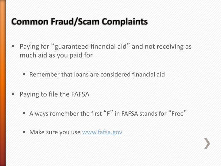 Common Fraud/Scam Complaints