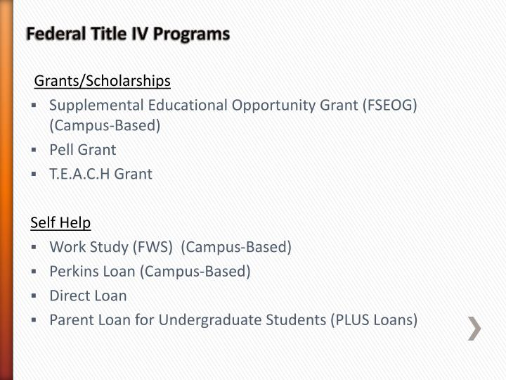 Federal Title IV Programs