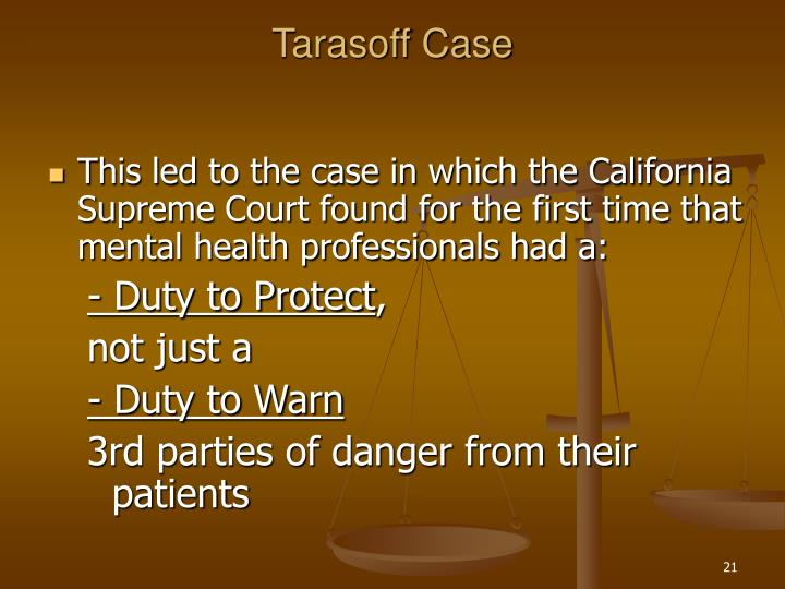 tarasoff case This chapter investigates stalking, erotomania, and the tarasoff cases the tarasoff record is one that is rich in judicial review and subsequent professional c.