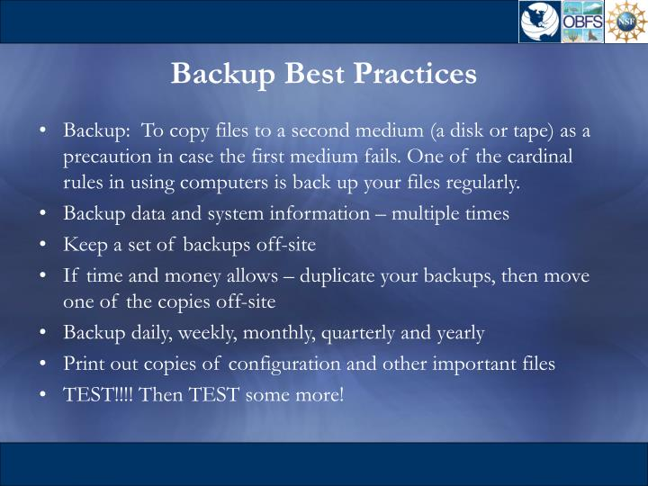 Backup Best Practices
