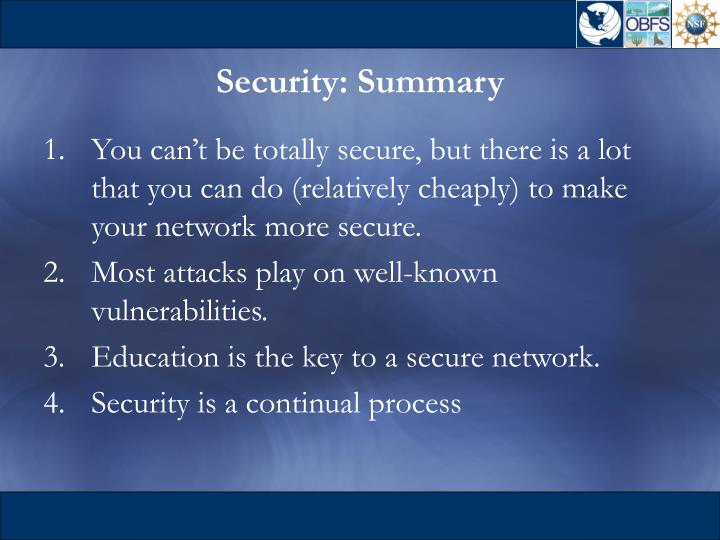 Security: Summary
