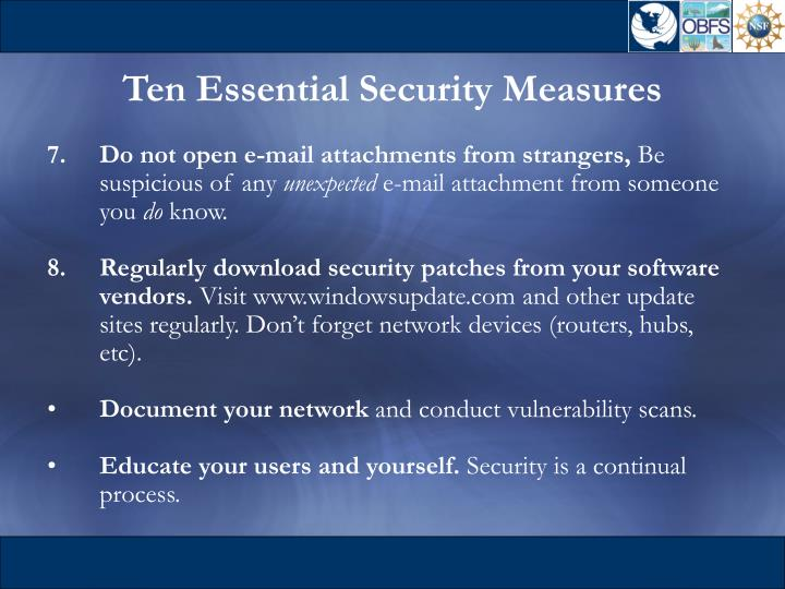 Ten Essential Security Measures