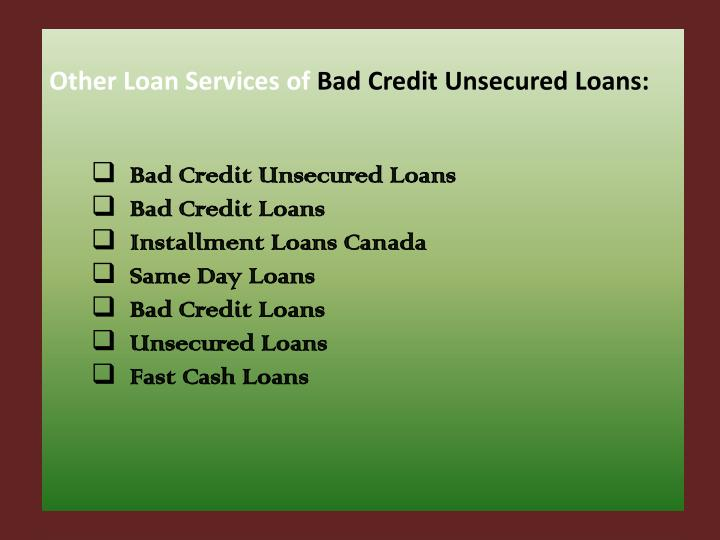 Other Loan Services of