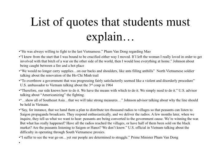 List of quotes that students must explain…