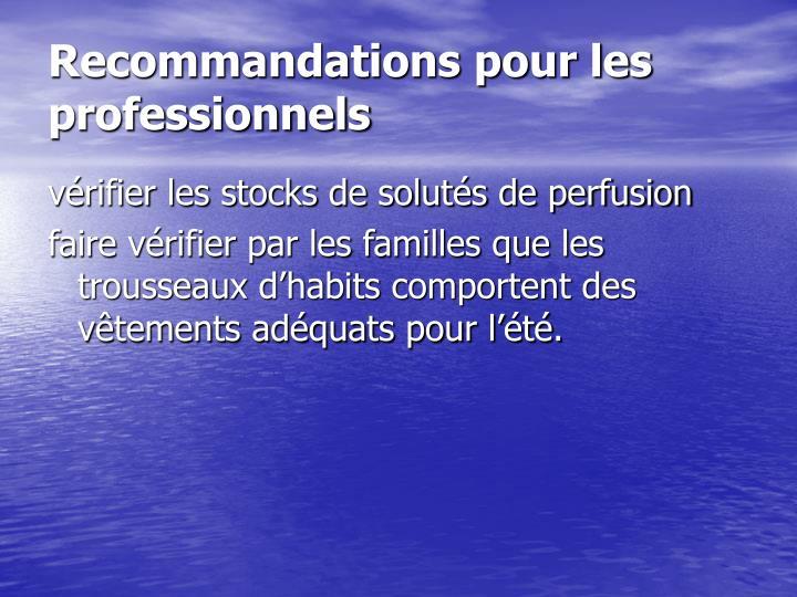 Recommandations pour les professionnels