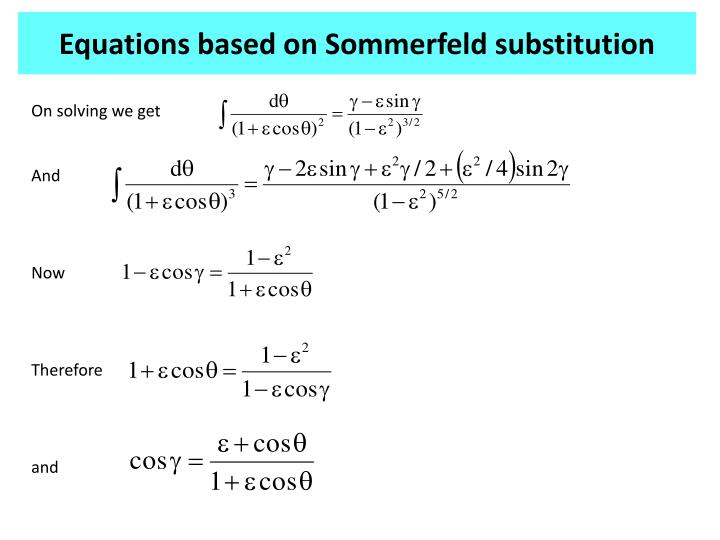 Equations based on Sommerfeld substitution