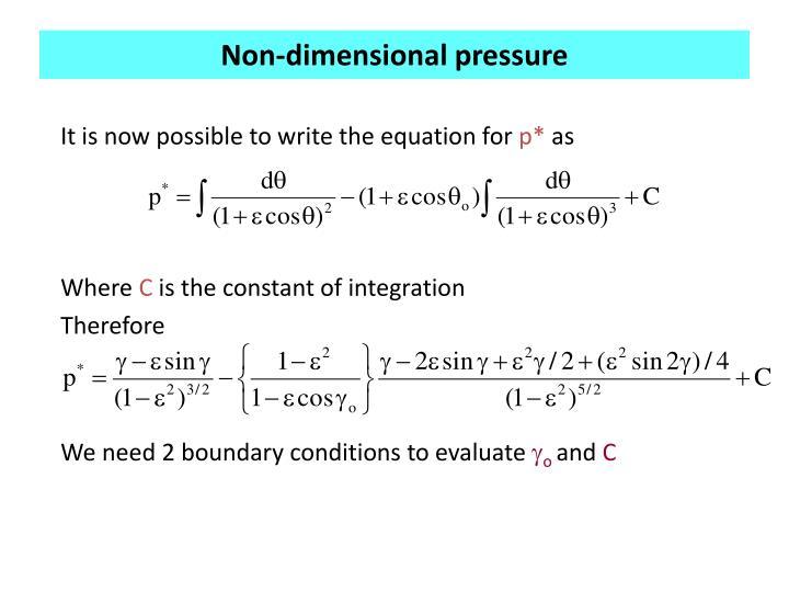 Non-dimensional pressure