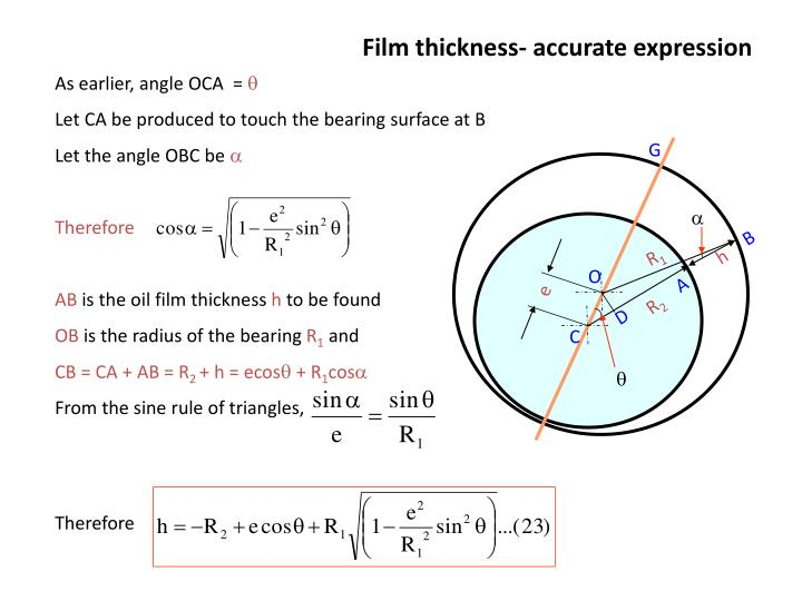 Film thickness- accurate expression