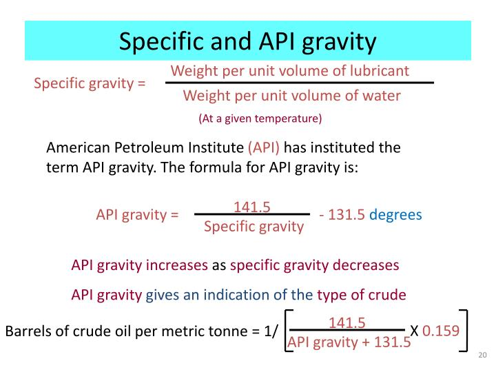 Specific and API gravity