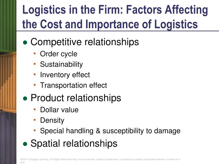 Logistics in the Firm: Factors Affecting the Cost and Importance of Logistics