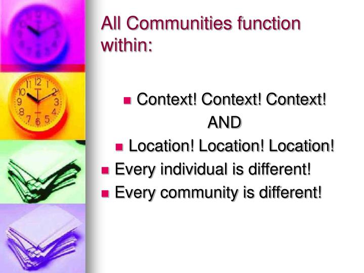 All Communities function within: