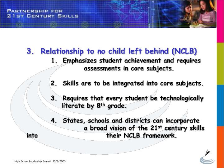 3.  Relationship to no child left behind (NCLB)