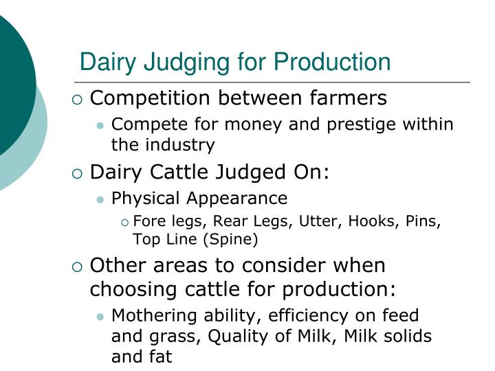 Dairy Judging for Production