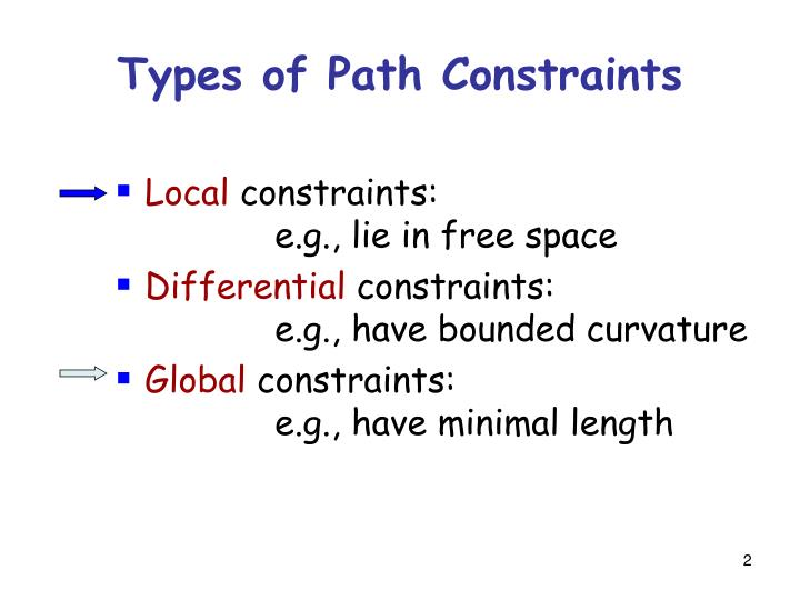 Types of path constraints