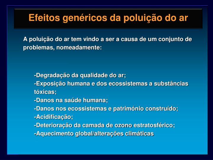 Efeitos genéricos da poluição do ar