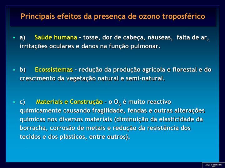 Principais efeitos da presença de ozono troposférico