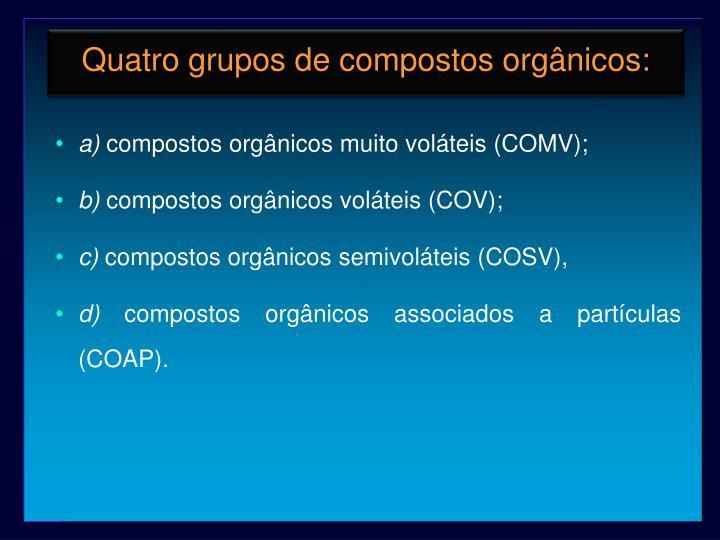 Quatro grupos de compostos orgânicos: