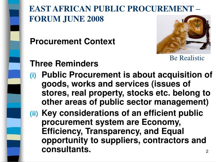 East african public procurement forum june 2008