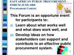 east african public procurement forum june 2008 procurement context8