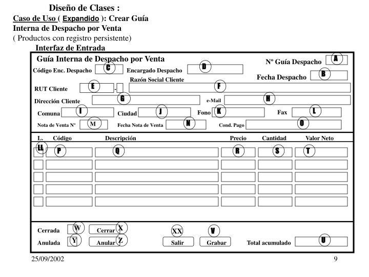 Diseño de Clases :