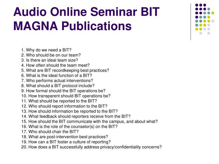 Audio Online Seminar BIT