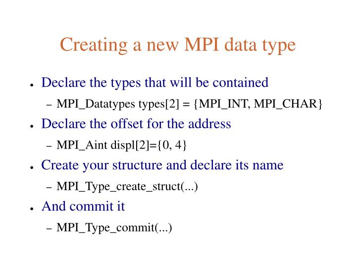 Creating a new MPI data type