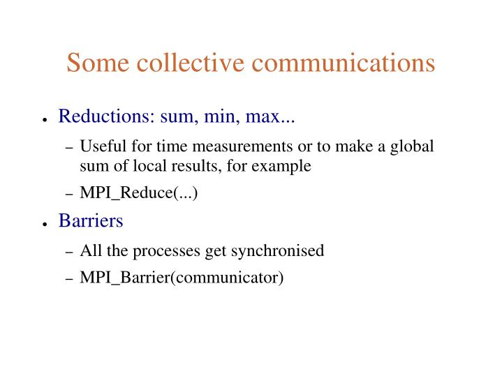 Some collective communications