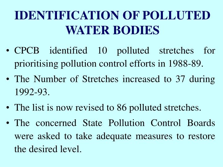 IDENTIFICATION OF POLLUTED