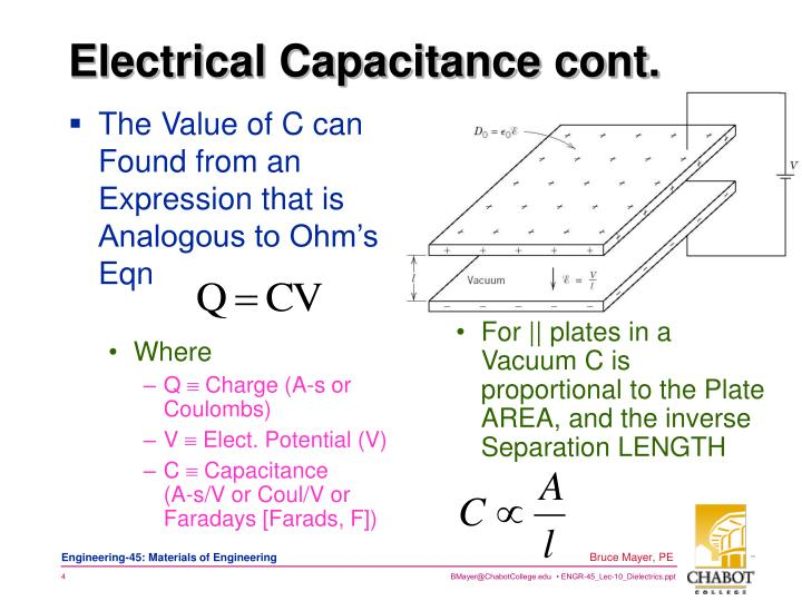 The Value of C can Found from an Expression that is Analogous to Ohm's Eqn