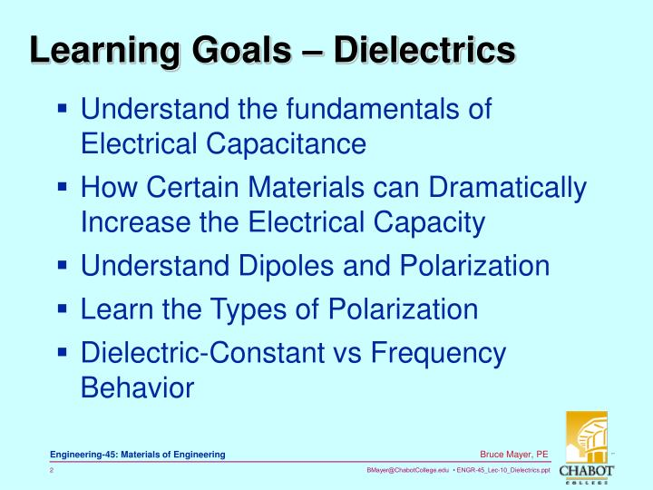 Learning Goals – Dielectrics
