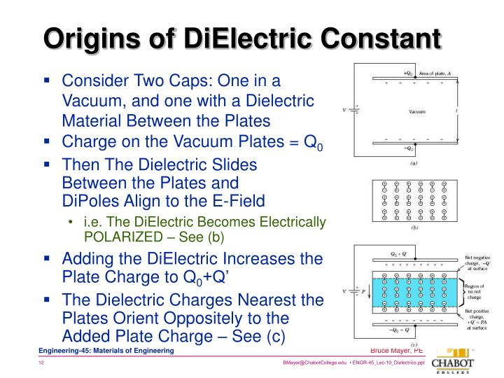 Consider Two Caps: One in a Vacuum, and one with a Dielectric Material Between the Plates