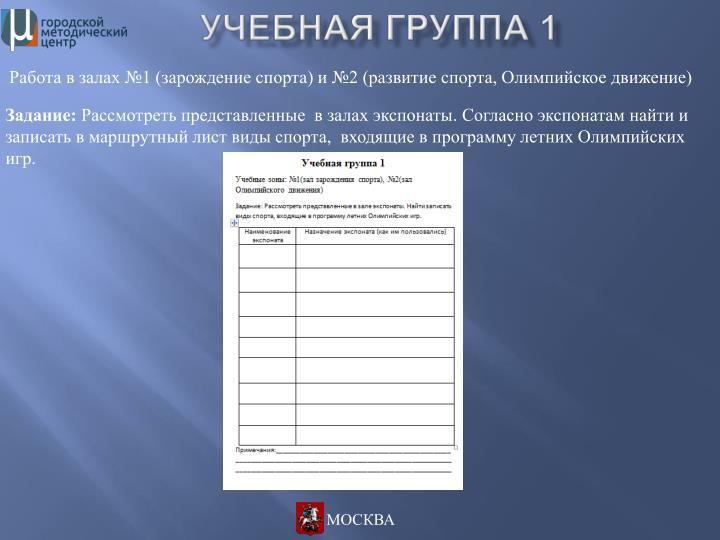 Работа в залах №1 (зарождение спорта) и №2 (развитие спорта, Олимпийское движение)