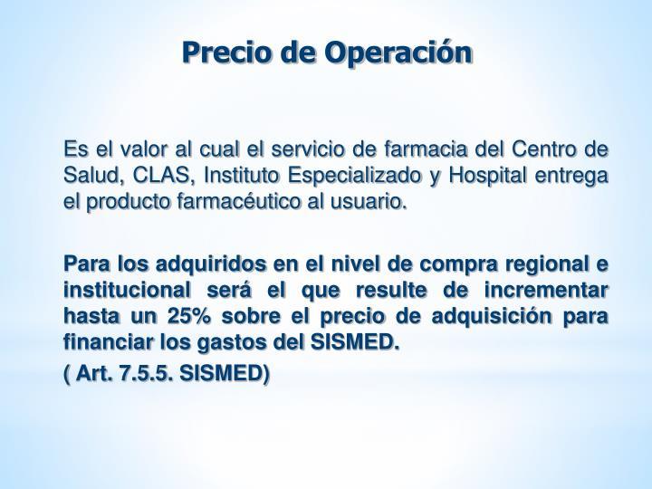 Precio de Operación