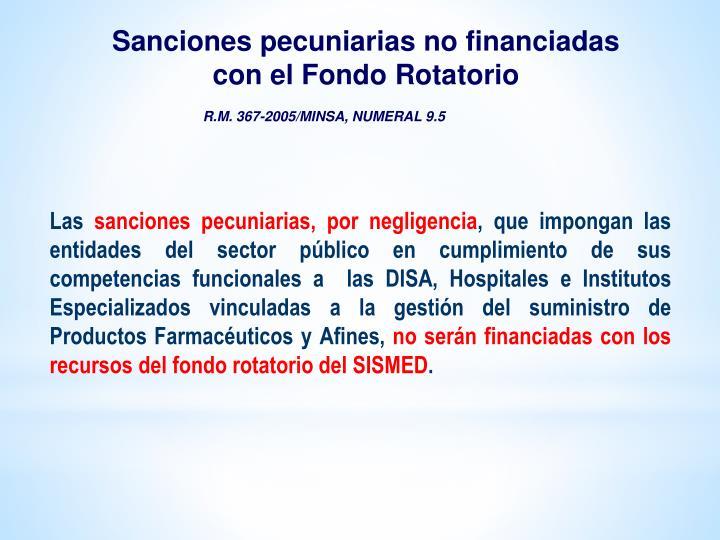 Sanciones pecuniarias no financiadas