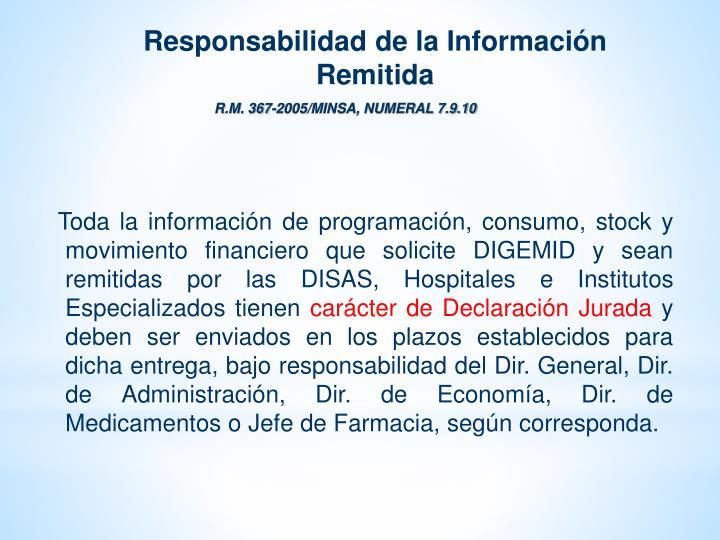 Responsabilidad de la Información