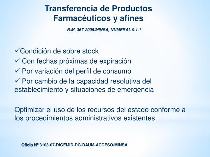 Transferencia de Productos