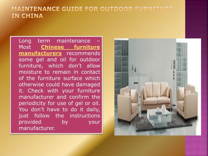 Maintenance guide for outdoor furniture in china