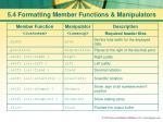 5 4 formatting member functions manipulators