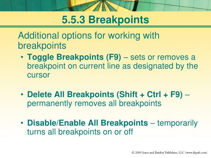 5.5.3 Breakpoints