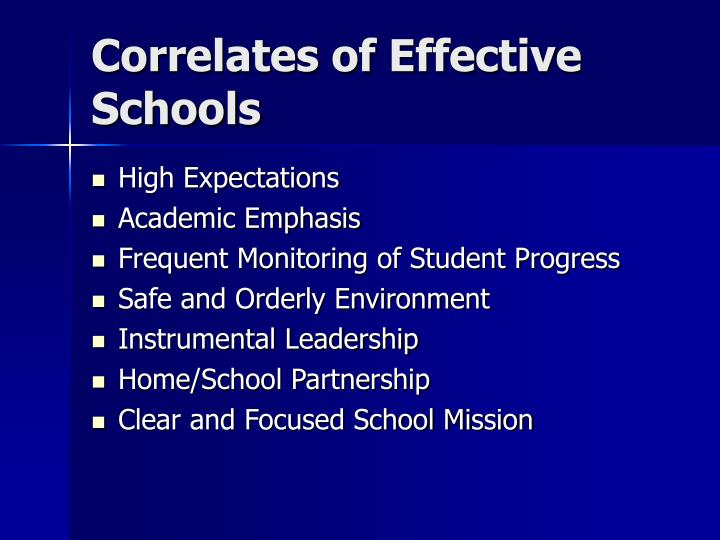 Correlates of Effective Schools