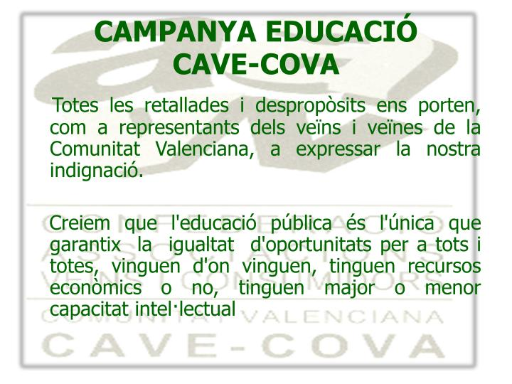 CAMPANYA EDUCACIÓ
