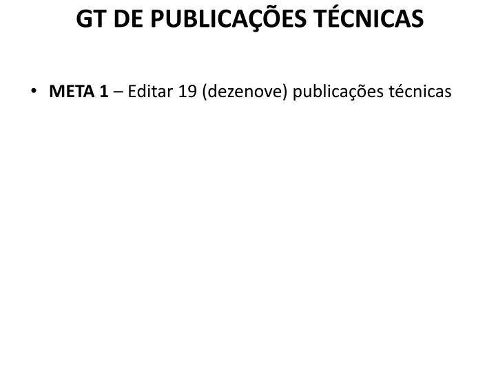 GT DE PUBLICAÇÕES TÉCNICAS