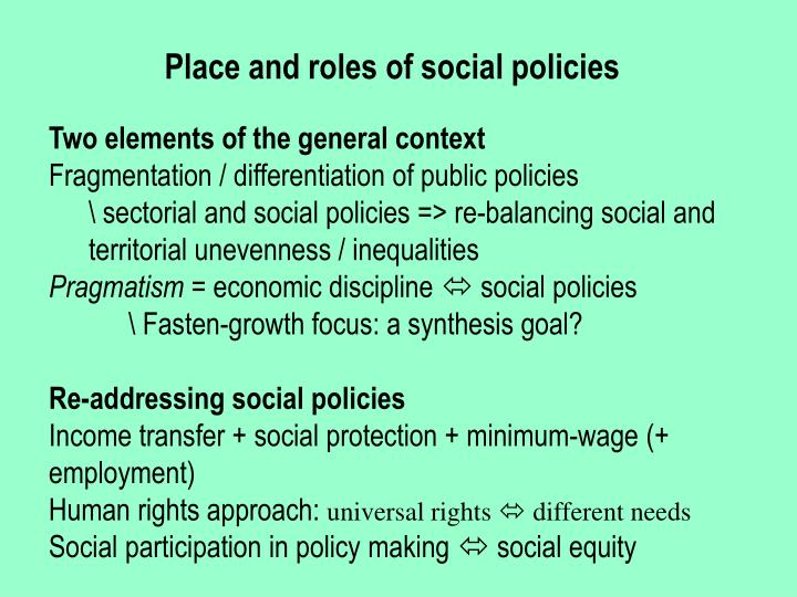 Place and roles of social policies
