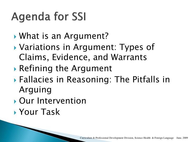 Agenda for SSI