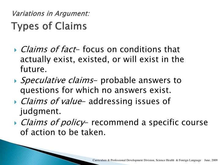 Variations in Argument: