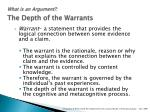what is an argument the depth of the warrants