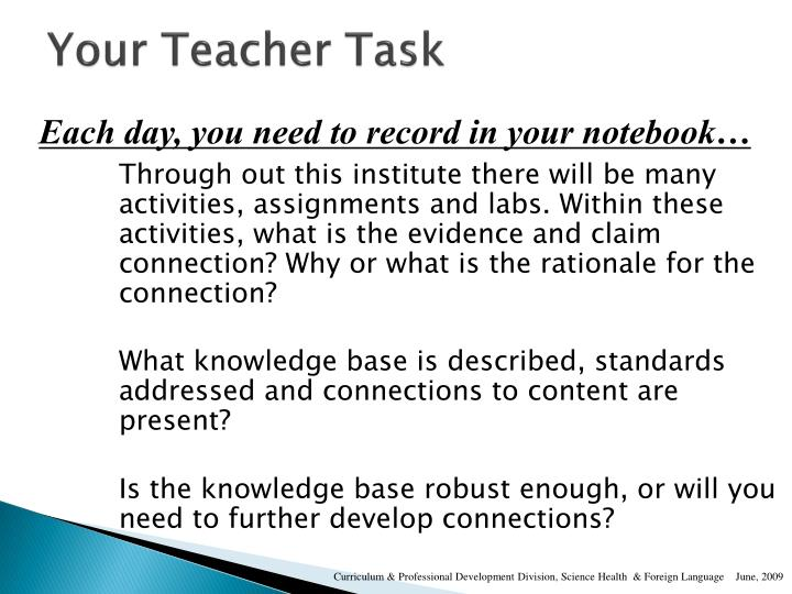 Your Teacher Task