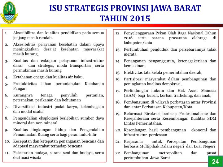 ISU STRATEGIS PROVINSI JAWA BARAT